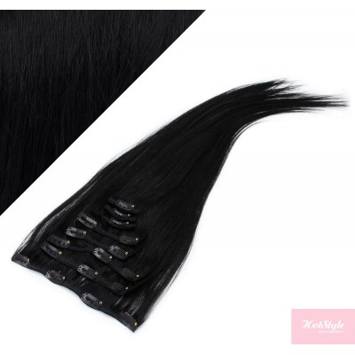"15"" (40cm) Clip in human REMY hair - black"
