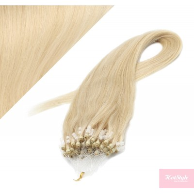 """24"""" (60cm) Micro ring human hair extensions - the lightest blonde"""