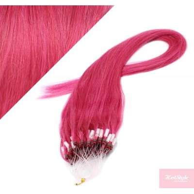 """24"""" (60cm) Micro ring human hair extensions - pink"""