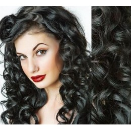 "20"" (50cm) Clip in wavy human REMY hair - black"