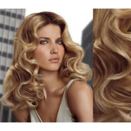 "20"" (50cm) Clip in wavy human REMY hair - light blonde/natural blonde"