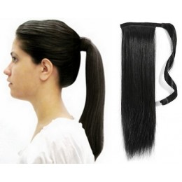 "Clip in ponytail wrap / braid hair extension 24"" straight - black"