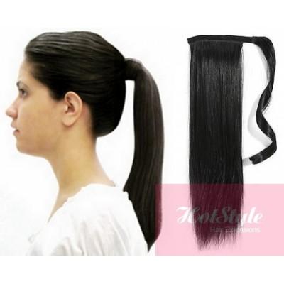 Clip in ponytail wrap braid hair extension 24 straight black pmusecretfo Choice Image