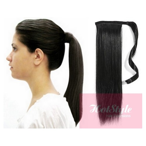Clip in ponytail wrap braid hair extension 24 straight black pmusecretfo Image collections