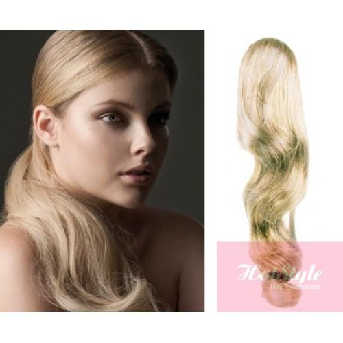 Clip In Ponytail Wrap Braid Hair Extension 24 Wavy Platinum Blonde