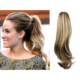 "Clip in ponytail wrap / braid hair extension 24"" wavy – natural blonde / light blonde"