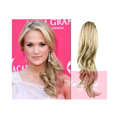 Clip In Ponytail Wrap Braid Hair Extension 24 Curly Platinum