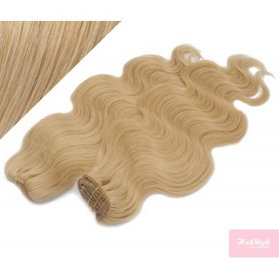 """20"""" (50cm) Deluxe wavy clip in human REMY hair - natural blonde"""