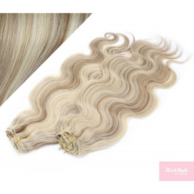 """20"""" (50cm) Deluxe wavy clip in human REMY hair - platinum/light brown"""