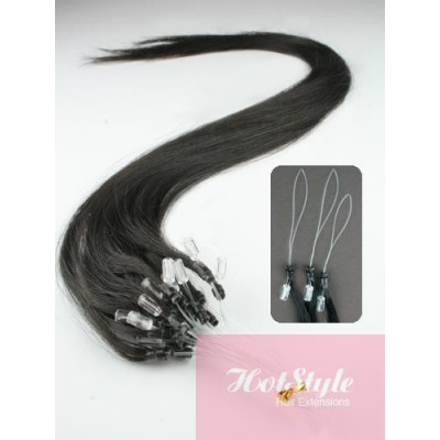"20"" (50cm) Micro ring human hair extensions - natural black"