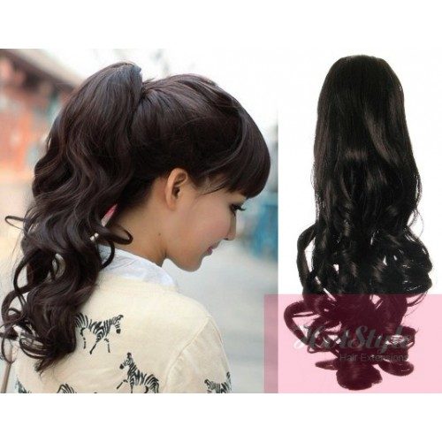 Clip In Ponytail Wrap Braid Hair Extension 24 Curly Natural Black