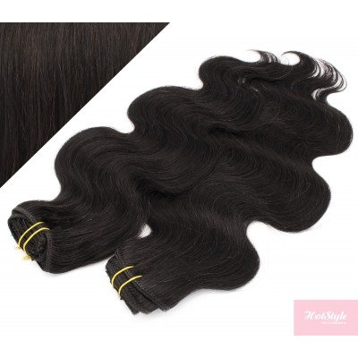 """20"""" (50cm) Deluxe wavy clip in human REMY hair - natural black"""