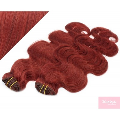 """20"""" (50cm) Deluxe wavy clip in human REMY hair - copper red"""