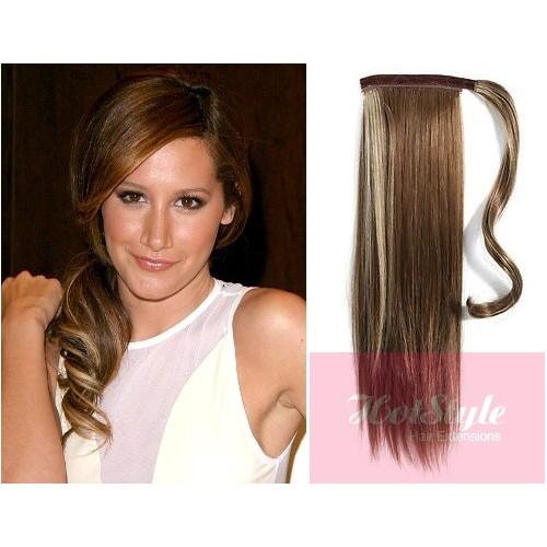 Clip in human hair ponytail wrap hair extension 20 straight clip in human hair ponytail wrap hair extension 20 straight dark brown blonde pmusecretfo Images