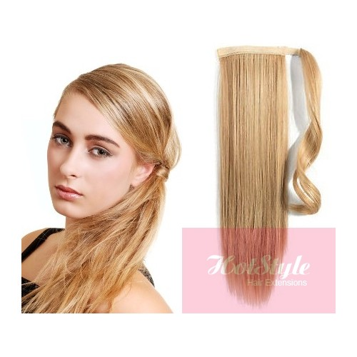 Clip In Human Hair Ponytail Wrap Hair Extension 20 Straight Light