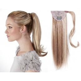 "Clip in human hair ponytail wrap hair extension 20"" straight - platinum/light brown"