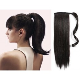 "Clip in human hair ponytail wrap hair extension 24"" straight - natural black"