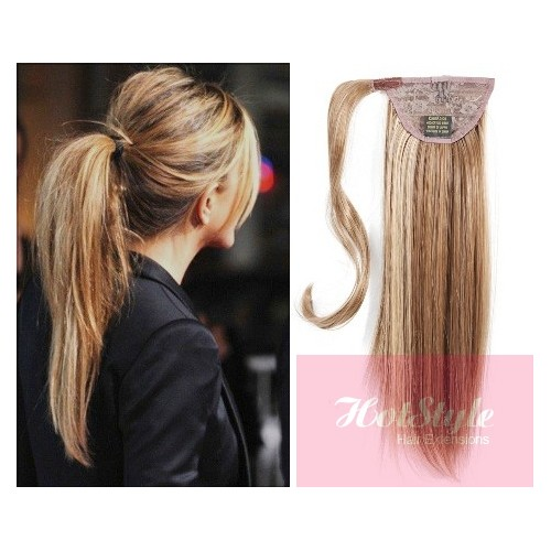Clip In Human Hair Ponytail Wrap Hair Extension 24 Straight Mixed