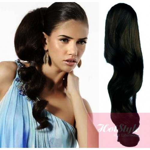 Clip In Human Hair Ponytail Wrap Hair Extension 20 Wavy Black