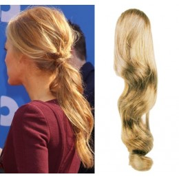 "Clip in human hair ponytail wrap hair extension 20"" wavy - natural blonde"