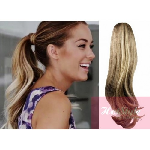 Clip In Human Hair Ponytail Wrap Hair Extension 20 Wavy Mixed Blonde