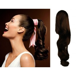 "Clip in human hair ponytail wrap hair extension 24"" wavy - dark brown"
