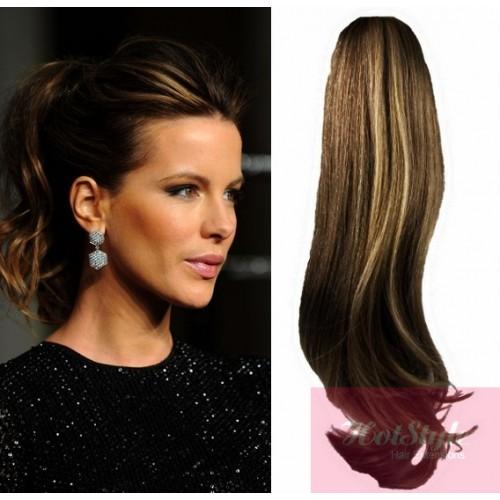 Clip in human hair ponytail wrap hair extension 24 wavy dark clip in human hair ponytail wrap hair extension 24 wavy dark brownblonde pmusecretfo Choice Image