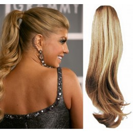 "Clip in human hair ponytail wrap hair extension 24"" wavy - light blonde/natural blonde"