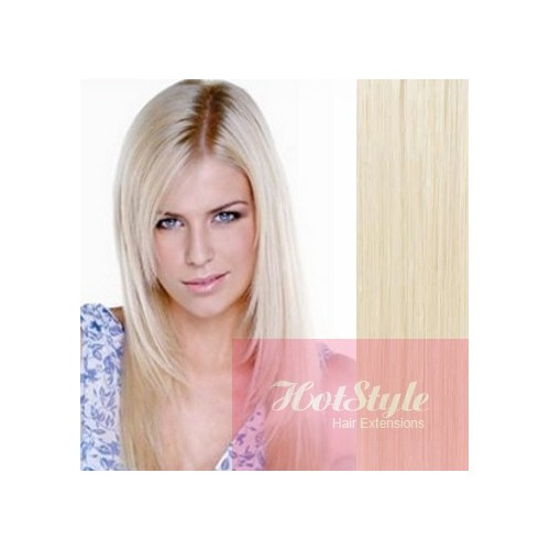Clip In Human Hair Remy Platinum Blonde 20 50cm