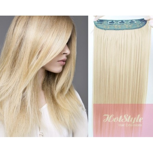 16 One Piece Full Head Clip In Hair Weft Extension Straight Platinum