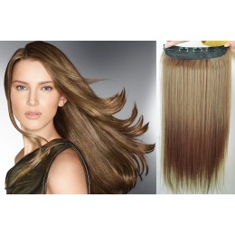 20˝ one piece full head clip in hair weft extension straight – light brown