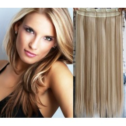 20˝ one piece full head clip in hair weft extension straight – platinum / light brown