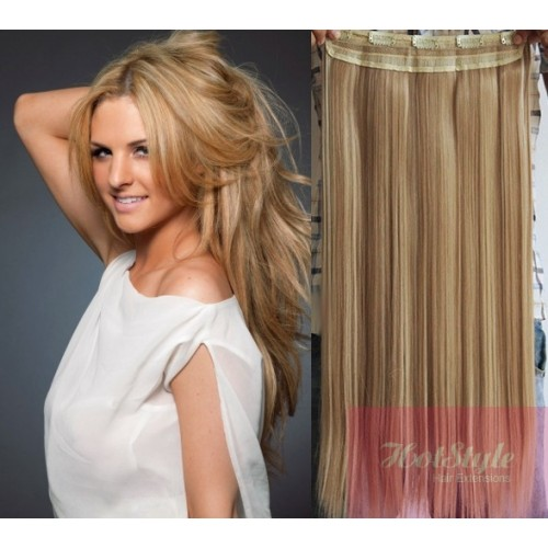 24 One Piece Full Head Clip In Hair Weft Extension Straight Light