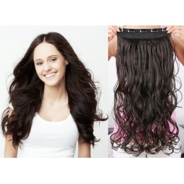 16˝ one piece full head clip in hair weft extension wavy – natural black