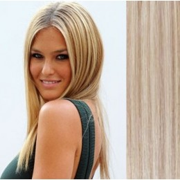 "20"" (50cm) Clip in human REMY hair - platinum/light brown"