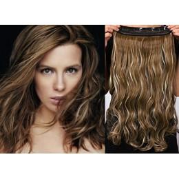 16˝ one piece full head clip in hair weft extension wavy – dark brown / blonde