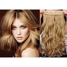 16˝ one piece full head clip in hair weft extension wavy – light blonde / natural blonde