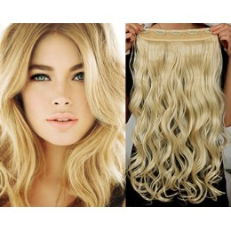 20˝ one piece full head clip in hair weft extension wavy – the lightest blonde
