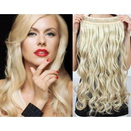 20˝ one piece full head clip in hair weft extension wavy – platinum