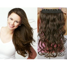 24˝ one piece full head clip in hair weft extension wavy – dark brown