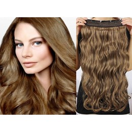 24˝ one piece full head clip in hair weft extension wavy – medium brown