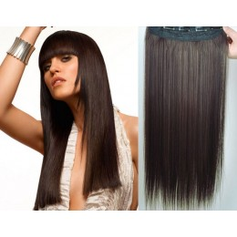 24˝ one piece full head clip in kanekalon weft extension straight – dark brown