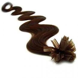 """20"""" (50cm) Nail tip / U tip human hair pre bonded extensions wavy – dark brown"""