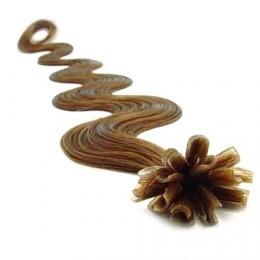 "20"" (50cm) Nail tip / U tip human hair pre bonded extensions wavy – light brown"
