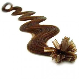 "20"" (50cm) Nail tip / U tip human hair pre bonded extensions wavy – medium light brown"