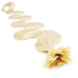 "24"" (60cm) Nail tip / U tip human hair pre bonded extensions wavy - platinum blonde"