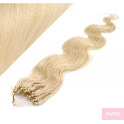 """20"""" (50cm) Micro ring human hair extensions wavy- the lightest blonde"""