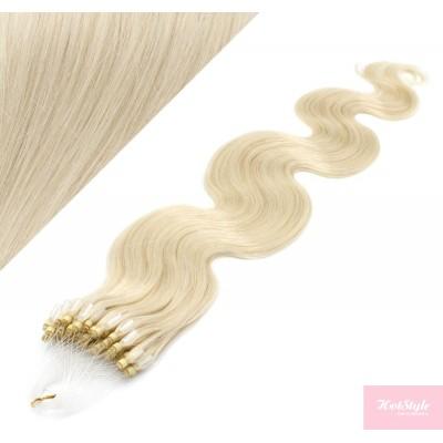 "20"" (50cm) Micro ring human hair extensions wavy- platinum blonde"