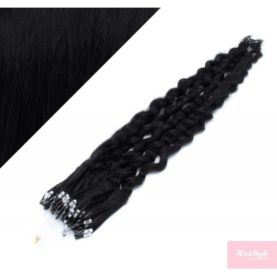 20˝ (50cm) Micro ring human hair extensions curly- black