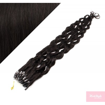 20˝ (50cm) Micro ring human hair extensions curly- natural black